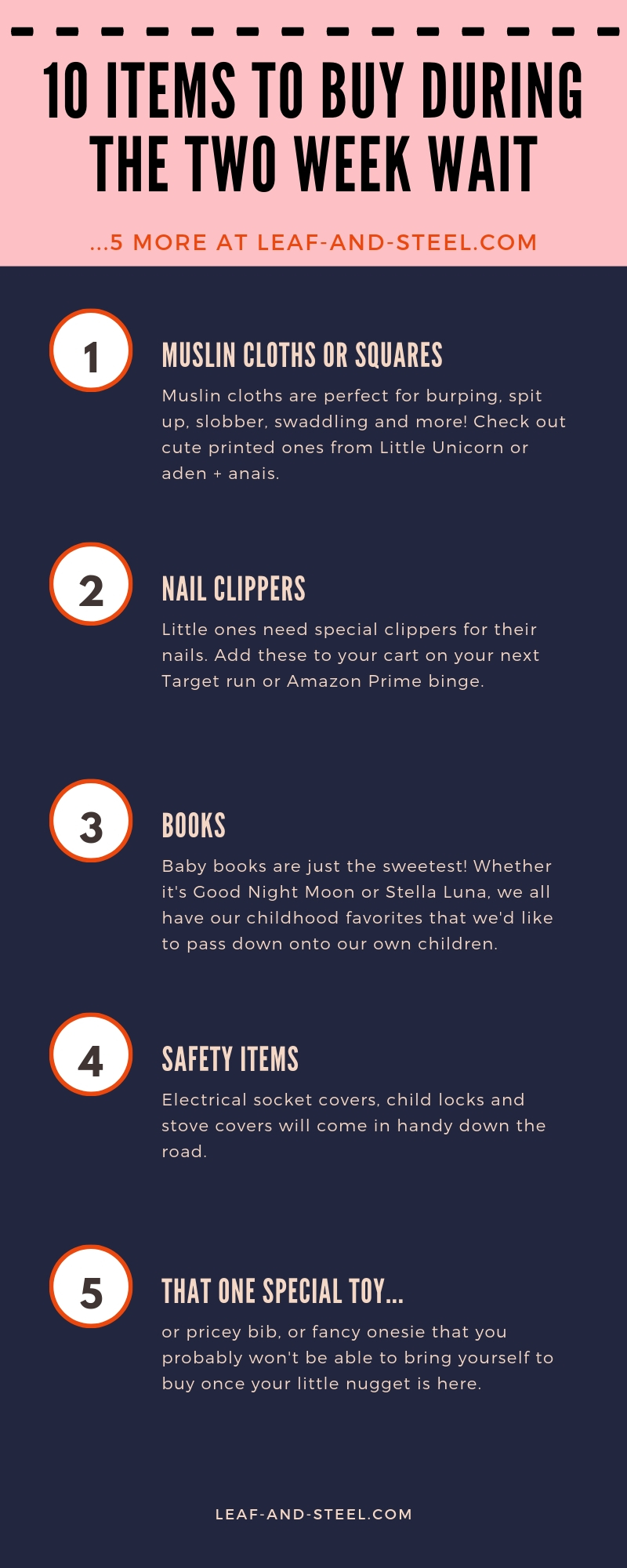 10 Items to buy during the two week wait